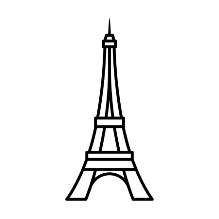 iconic architecture: Eiffel Tower  Tour Eiffel in Paris line art icon for apps and websites Illustration