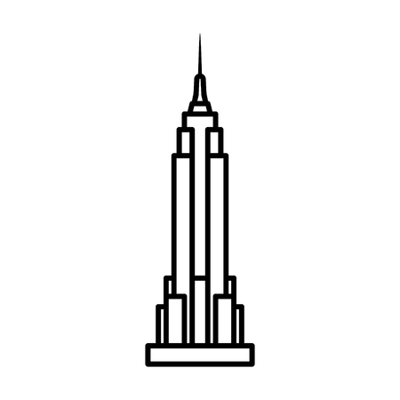 empire state: Empire State Building in New York City line art icon for apps and websites