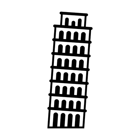 The Leaning Tower of Pisa in Italy line art icon for apps and websites Çizim