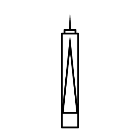 iconic architecture: One World Trade Center  Freedom Tower in New York City line art icon for apps and websites