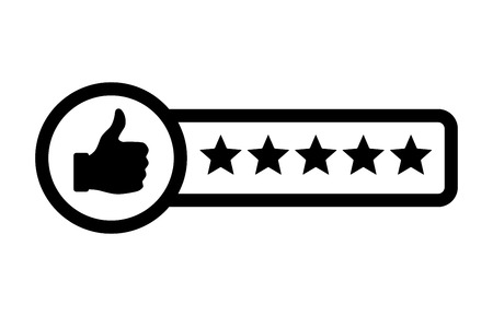 five stars: Consumer or customer product rating flat icon for apps and websites