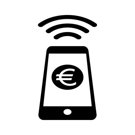 NFC Euro payment with mobile phone  smartphone flat icon for apps and websites Illustration