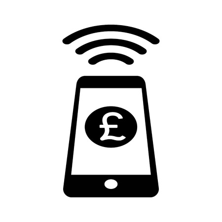 NFC Pound Sterling payment with mobile phone  smartphone flat icon for apps and websites Illustration