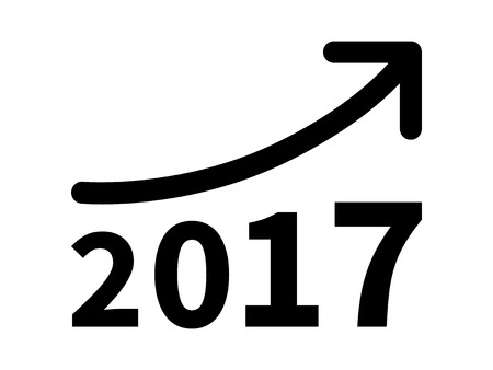 minimum wage: Growth and increase profit  revenue in 2017 flat icon for apps and websites