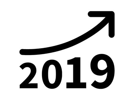 incremento: los ingresos crecimiento y aumento del beneficio en 2019 icono plana para aplicaciones y sitios web Vectores