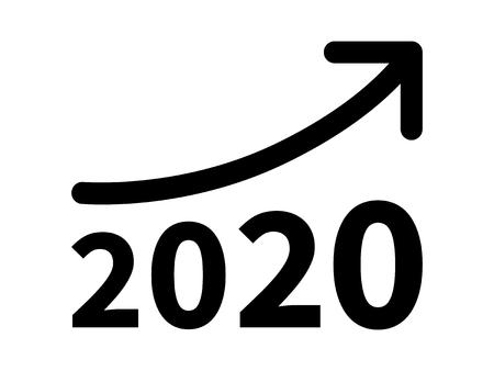 La crescita e l'aumento dei profitti dei ricavi nel 2020 icona piatta per le applicazioni e siti web