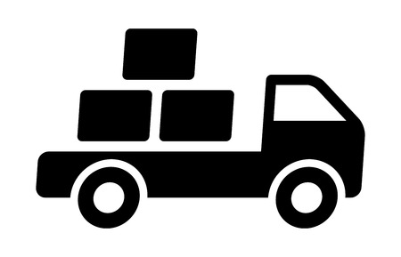 deliver: Fast shipping delivery truck with packages flat icon for apps and websites