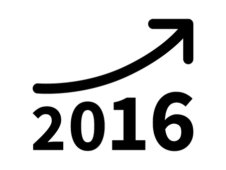 Growth and increase profit revenue in 2016 flat icon for apps and websites