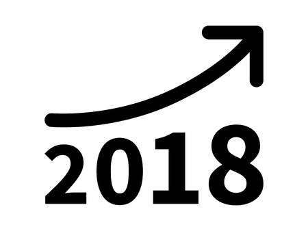 minimum wage: Growth and increase profit  revenue in 2018 flat icon for apps and websites Illustration