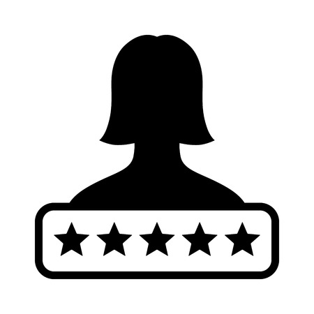 critique: Female employee or customer rating flat icon for apps and websites