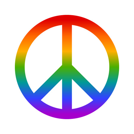 Rainbow peace sign flat icon for apps and websites