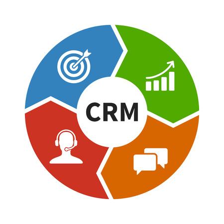 CRM - 顧客関係管理フラット カラー アイコンのアプリとウェブサイト  イラスト・ベクター素材