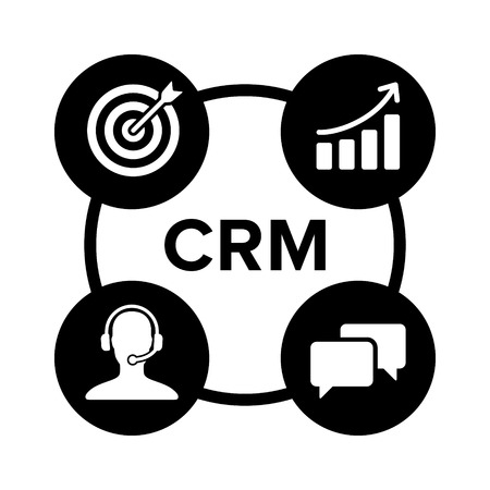 CRM - customer relationship management flat icon for apps and websites Illusztráció