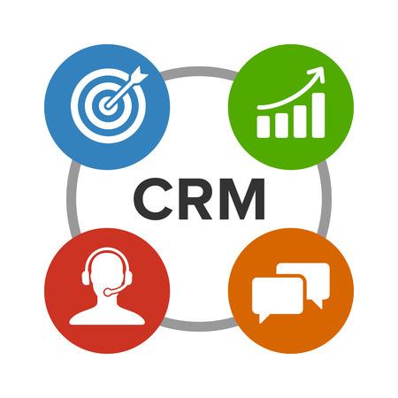 CRM - zarządzanie relacjami z klientami ikona płaskim kolorów dla aplikacji i stron internetowych