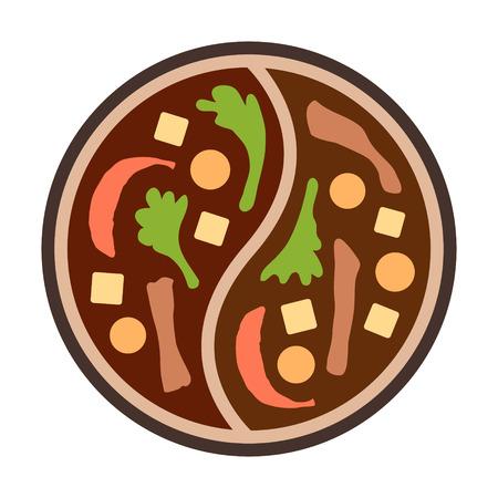 Aziatische hotpot hot pot bovenaanzicht flat kleur pictogram voor voedsel apps en websites