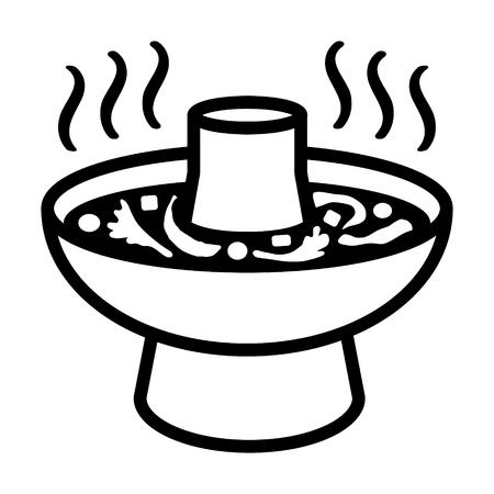 Potée hot pot asiatique ou bateau à vapeur icône de l'art de la ligne pour les applications alimentaires et de sites web Banque d'images - 53514996