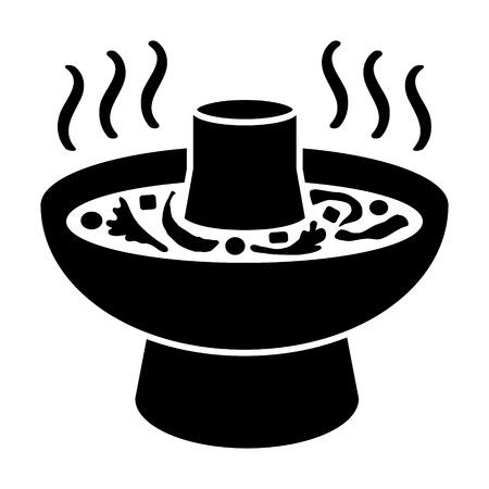アジア鍋料理アプリとウェブサイトの熱い鍋か鍋料理フラット アイコン