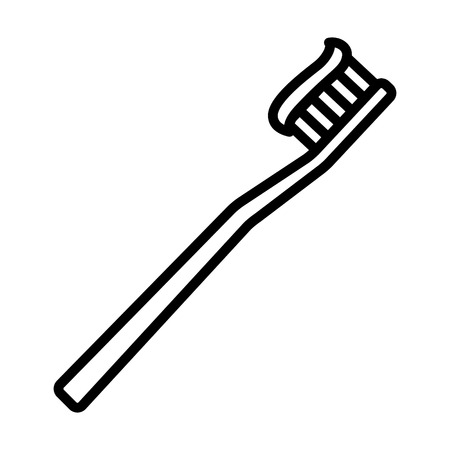 Toothbrush tooth brush with toothpaste line art icon for apps and websites