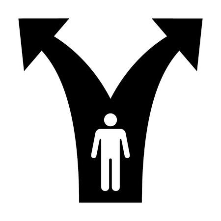 Eine Gabel in der Straße Wege flach Symbol für Anwendungen und Websites Verzweigung Vektorgrafik