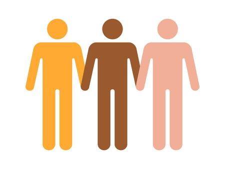 diversidad: la unidad en la diversidad de iconos de vectores plana para aplicaciones y sitios web