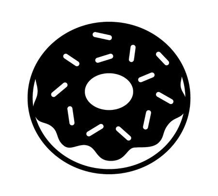 frosting: Donut  doughnut with chocolate frosting and sprinkles flat icon for food apps and websites