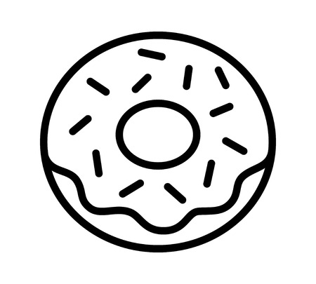 sprinkles: Donut  doughnut with frosting and sprinkles line art icon for food apps and websites