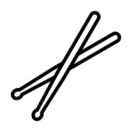 Drumsticks or drum sticks line art icon for music apps and websites Illusztráció