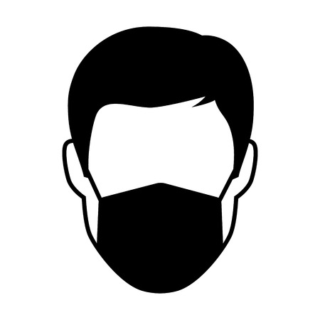 respiratory protection: Breathing mask on face flat icon for apps and websites