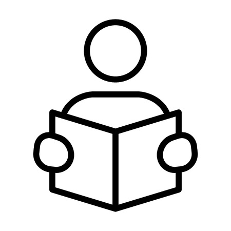 Reading or learning with book line art icon for education apps and websites