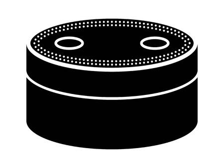 音声認識アプリとウェブサイトのフラット アイコンと小さなスマート スピーカー