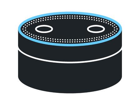 앱 및 웹 사이트 용 음성 인식 평면 아이콘이있는 소형 스마트 스피커