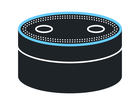 alexa: Small smart speaker with voice recognition flat icon for apps and websites
