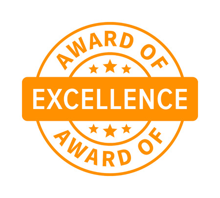 Award or seal of excellence badge, label or stamp