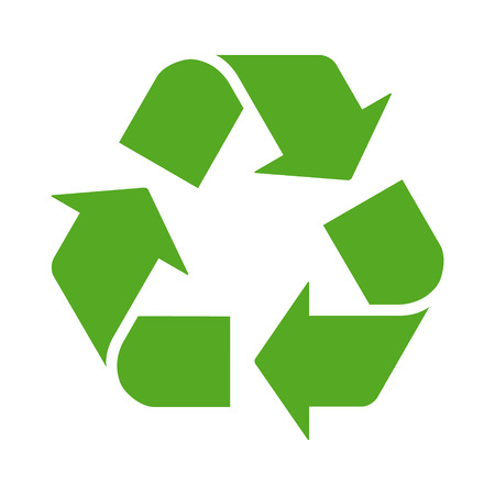 reduce: Green recycle or recycling arrows flat icon for apps and websites