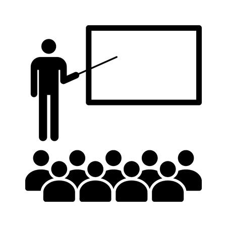 Nauczyciel z kijem w klasie z uczniami płaskiej ikony aplikacji edukacyjnych i stron internetowych