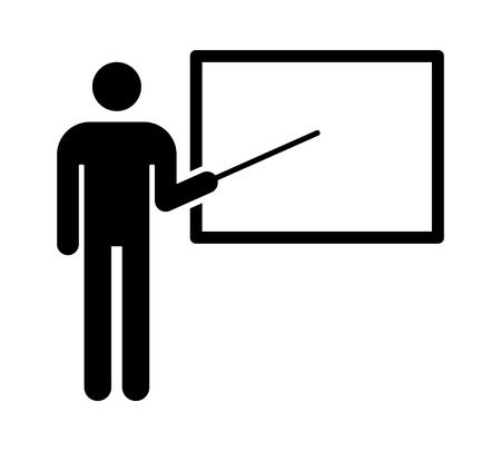 teachers: Teacher with stick pointing to blackboard flat icon for education apps and websites Illustration