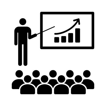 Finance presentatie met presentator en mensen vlakke pictogram van financiële apps en websites