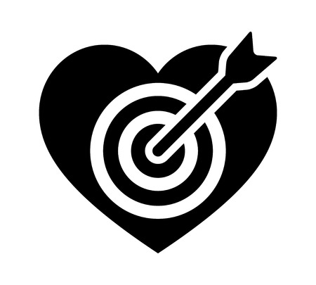 Arrow through heart target flat icon for apps and websites