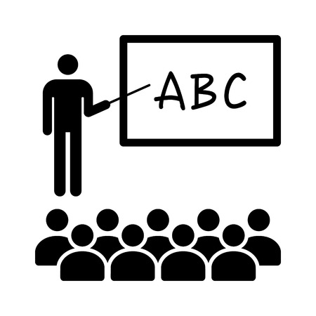 abc's: Teacher with stick teaching ABCs in classroom with students flat icon for education apps and websites Illustration