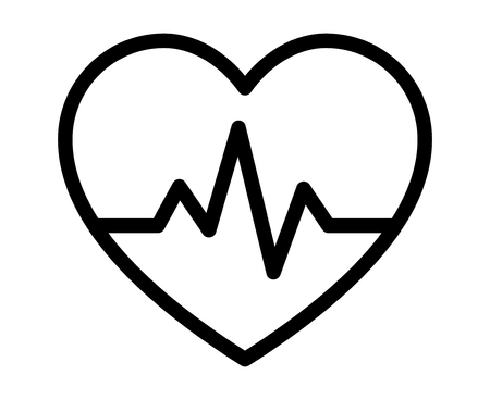 Heartbeat / heart beat pulse line art icon for medical apps and websites