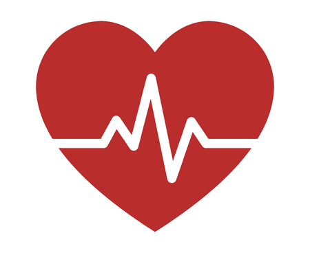 Heartbeat / heart beat pulse flat icon for medical apps and websites Çizim