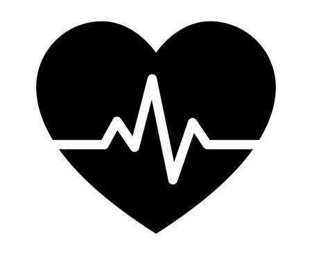 Heartbeat / heart beat pulse flat icon for medical apps and websites 일러스트