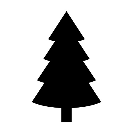 tree outline: Evergreen conifer  pine tree flat stylized icon for apps and websites