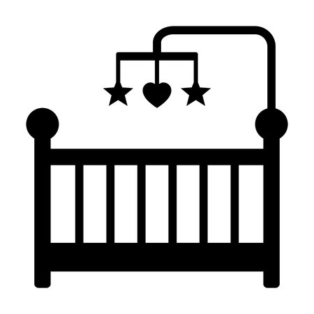 infant baby: Baby crib or infant bed with hanging toys flat icon for apps and websites