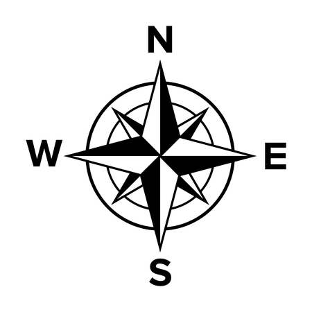 Compass rose or windrose  rose of the winds flat icon for apps and websites