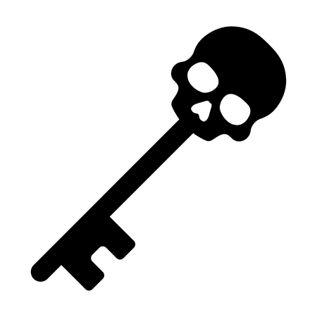 Skeleton key or skull key flat icon for games and apps