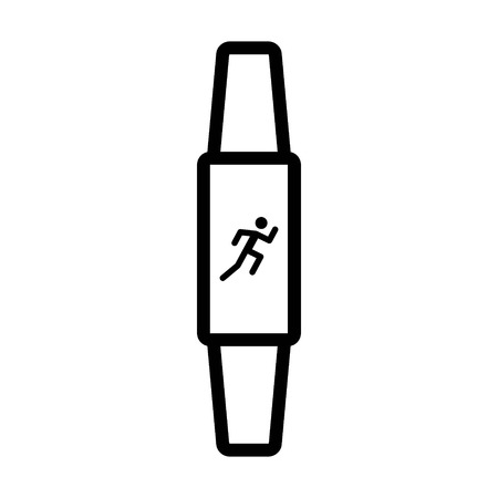 Fitness activity tracker with exercise monitor line art icon for apps and websites Ilustração