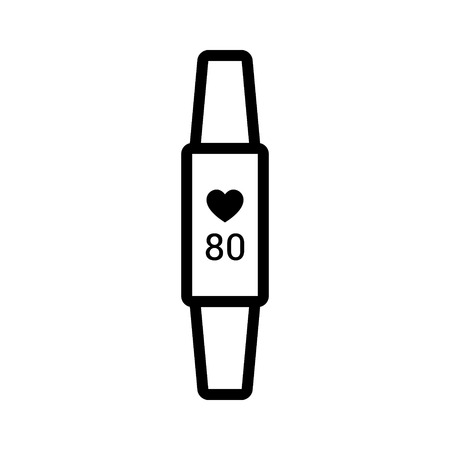 heartbeat monitor: Fitness activity tracker with heartbeat monitor line art icon for apps and websites
