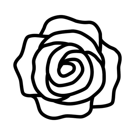 rosaceae: Rose flower or romantic rose line art icon for apps and websites