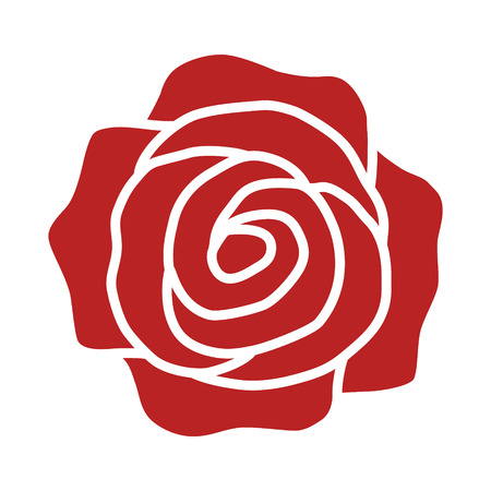 Rose flower or romantic rose flat red icon for apps and websites